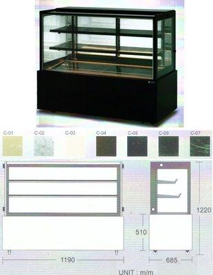 瑞興直角蛋糕櫃 / 4角玻璃後開門展示櫃 / 蛋糕冷藏展示櫥