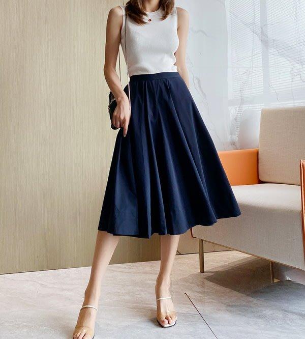 日單 2020新款 拯救梨型身材 遮肉顯瘦 氣質藏藍色 超大用料A字裙襬 鬆緊高腰七分寬管褲 褲裙 (U1080)