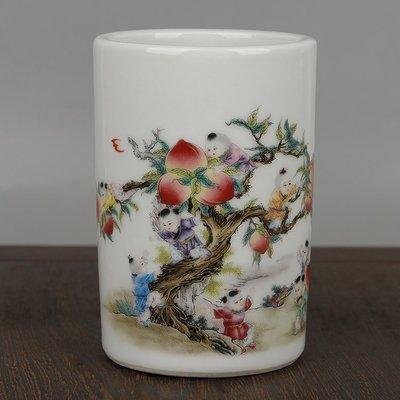 ㊣姥姥的寶藏㊣大清光緒年制款貼花釉上粉彩九子攀桃嬰戲紋小筆筒