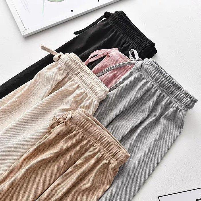 ❤Princess x Shop❤清涼冰絲寬管褲薄款高腰寬鬆垂感顯瘦直筒休閒TM09-75-5韓國同款