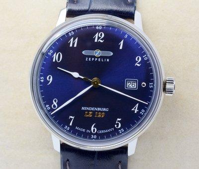 《寶萊精品》ZEPPELIN 齊柏林銀藍大圓男子錶