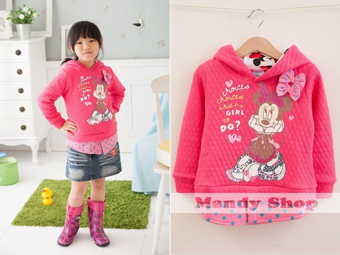 mandyshop【7975】台灣製㊣ Disney迪士尼/米妮假2件長袖PO衫