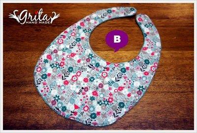 ♥grita's handmade♥純棉手作嬰幼兒圍兜兜/領巾/口水巾/三角巾/彌月禮—氣質小花