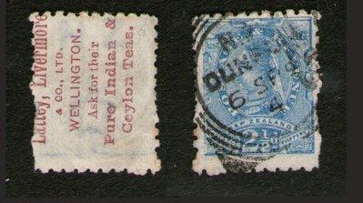 【雲品】紐西蘭New Zealand 1893 Advertisments SG 220ex Wmk reversed #67474