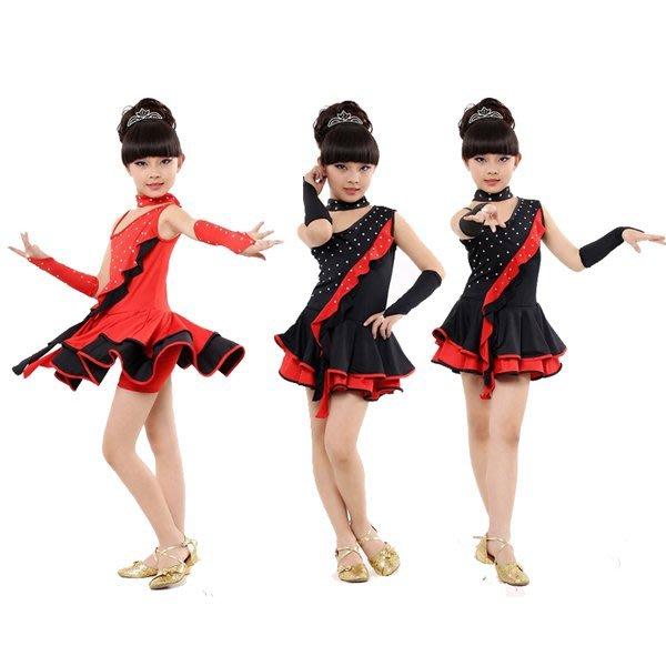 5Cgo【鴿樓】會員有優惠 38259029760 兒童拉丁舞服裝燙鑽女童練功服少兒裙比賽舞蹈服表演衣服 拉丁舞套裝