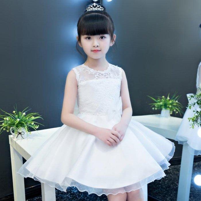 兒童裙夏裝公主裙女童洋裝蓬蓬紗花童禮服女孩生日白色婚紗裙子HPXW10074