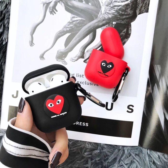 爆款熱賣-愛心airpods保護套2蘋果無線藍牙耳機收納盒防摔防丟硅膠軟殼