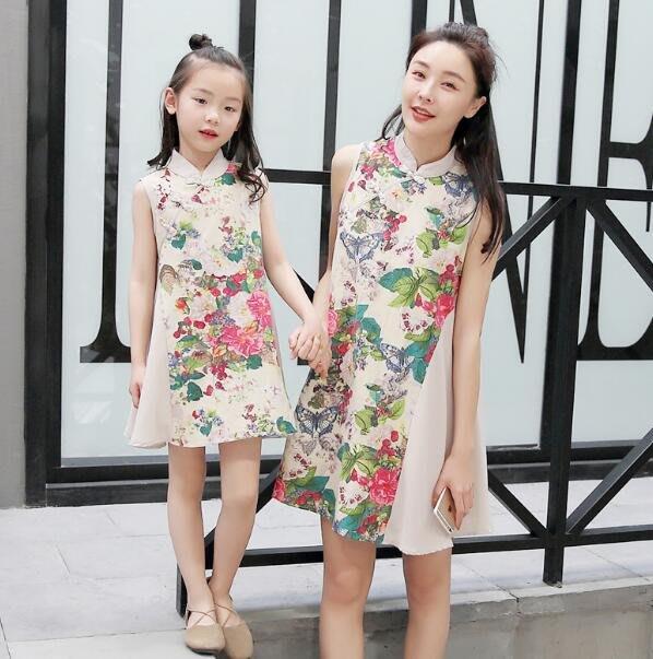 親子裝 洋裝 母女裝 碎花洋裝  碎花旗袍 複古裙時尚潮童親子裝 民族風連身裙 —莎芭