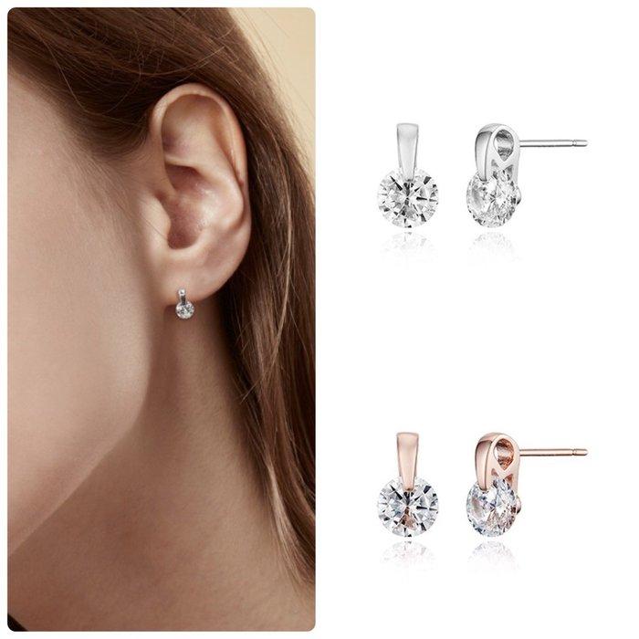 【韓Lin連線代購】韓國 HAESOO.L 海秀兒 - TU029 925銀 設計款鑲鑽耳環