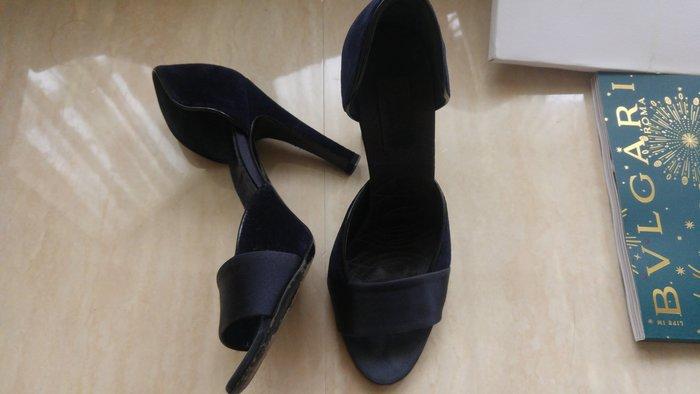 36C【Gucci 】 走秀款神秘午夜藍絲緞高級絲絨魚口高跟鞋 Sandals Shoes