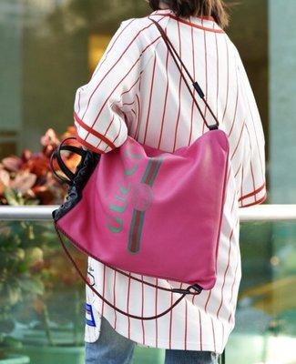 Gucci 595053 Coco Capitan drawstring backpack 塗鴉後背包 粉紅