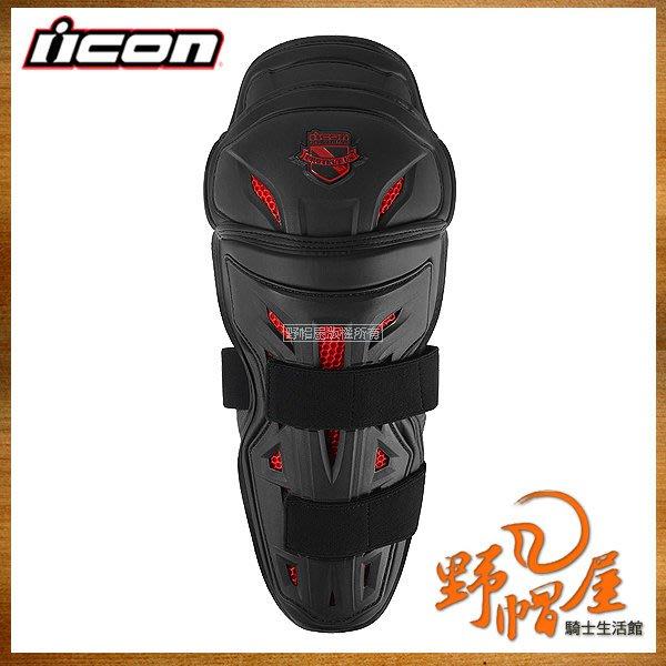 三重《野帽屋》ICON STRYKER 護膝 硬式加長 強化包覆 D3O 吸收強震 護具。黑紅