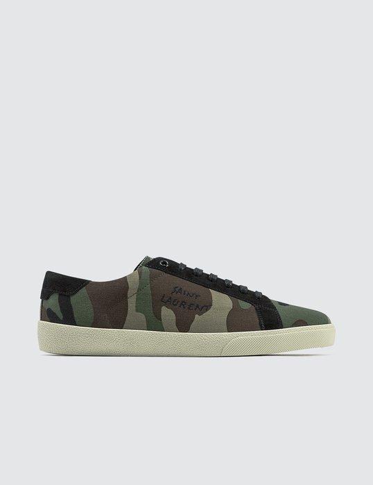 Saint Laurent - Embroidered Camouflage-Print Canvas Sneaker 男迷彩帆布運動鞋 折扣代購中
