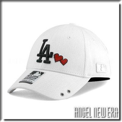 【PD帽饰】【ANGEL NEW ERA 】 MLB Old Fashioned Cap  道奇 LA  白 老帽  愛心  人字布