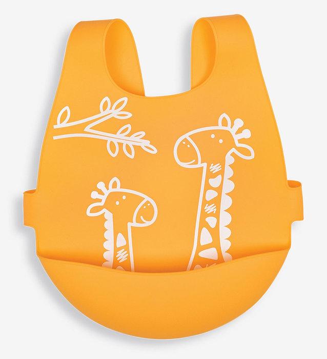 全矽膠後扣式口袋圍兜-亮橘長頸鹿/英國Jojo Maman Bebe【兔寶寶部屋】