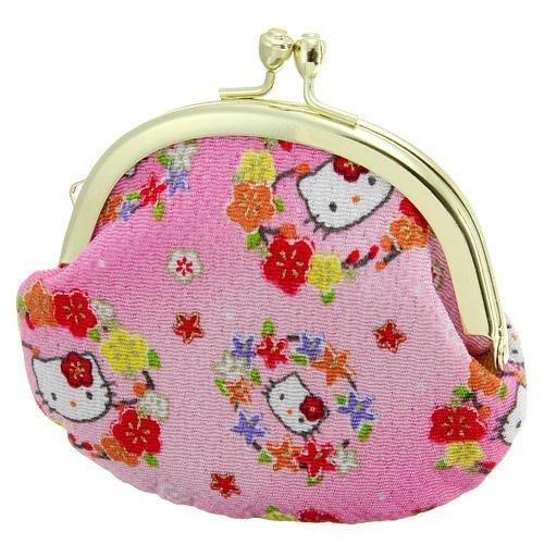 日本限定凱蒂貓KITTY和風珠扣零錢包-日本製--秘密花園