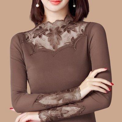 店長嚴選網紗打底衫女長袖t恤秋裝2019新款大碼蕾絲衫女洋氣小衫