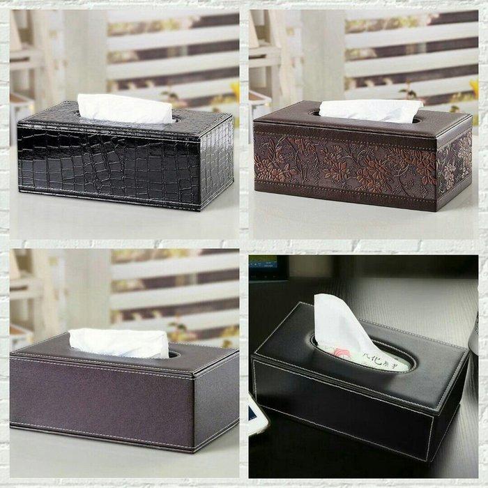 復古雕花褐色皮革紙巾盒黑色鱷魚紋面紙盒~蘇菲亞精品傢飾~