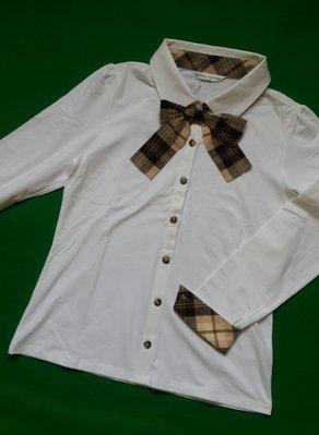 Kinloch Anderson金安德森全新經典白色立領領口袖口滾格蝴蝶結點綴長袖棉衫