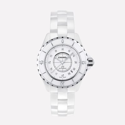 【益成當舖】已售出 流當品 寧夏夜市旁 香奈爾CHANEL J12白色陶瓷 自動機械運動錶 原裝12顆鑽石 附盒子保單