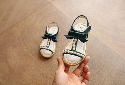 【溜。溜。選物】兒童涼鞋 珍珠軟底蝴蝶結涼鞋 休閒鞋 童鞋