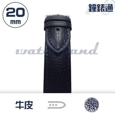 【鐘錶通】C1-01HR《簡約系列》荔枝紋-20mm 墨黑 /細車線錶帶/荔枝紋/牛皮錶帶/