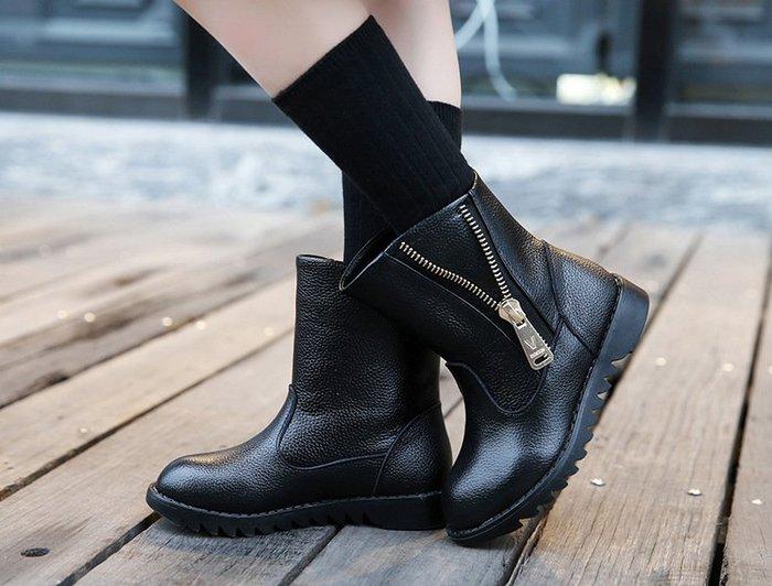 [C.M.平價精品館]26~37碼/帥氣有型舒適棉質內襯防滑橡底黑色/紅色牛皮短筒靴  大女童/中童