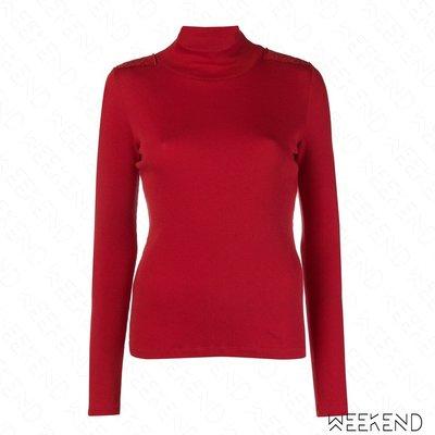 【WEEKEND】 EACH X OTHER 合身 高領 肩膀貼片 長袖 上衣 紅色 18秋冬