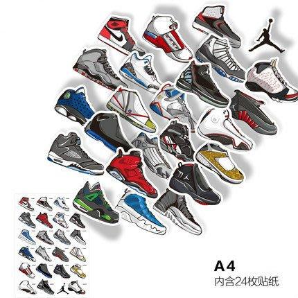喬丹 Jordan 歷代球鞋 貼紙 潮牌 ☛ 可反覆貼黏 手機 筆記本 行李箱貼紙 滑板