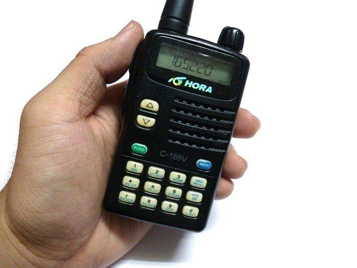 ☆寶藏點☆HORA C-168V/C-168U 單頻 手持式 無線電 對講機《附原廠電池+天線》功能正常 jj165