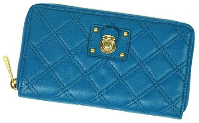 Marc Jacobs C3121400 Hudson quilted leather wallet 小羊皮格紋拉鍊長夾 孔雀藍