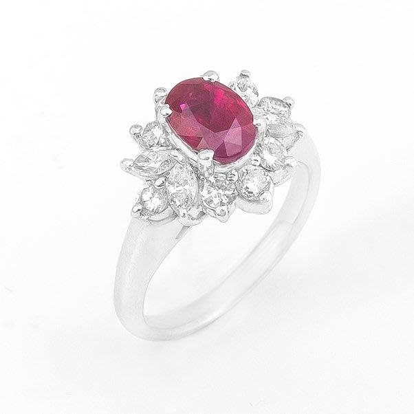 【JHT 金宏總珠寶/GIA鑽石專賣】1.38ct天然紅寶鑽戒/材質:PT900(R00021)