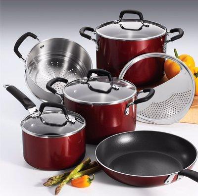 超值9件組 Tramontina 美國製 不沾鍋 紅 黑 藍 不沾湯鍋