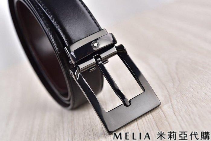 Melia 米莉亞代購 美國精品代購 Montblanc 萬寶龍 皮帶 腰帶 小方頭扣 鐵黑色 純鏡面打磨 包裝齊全
