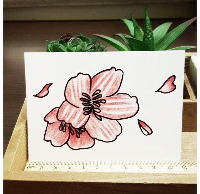 【萌古屋】L系列紅色花瓣花朵 - 男女防水韓風簡約紋身貼紙刺青貼紙K31