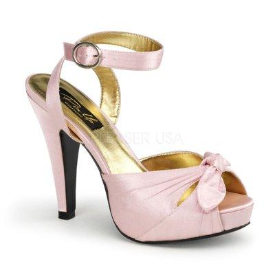 Shoes InStyle《四吋》美國品牌 PIN UP CONTURE 原廠正品緞面厚底高跟鞋 有大尺碼『粉紅色』