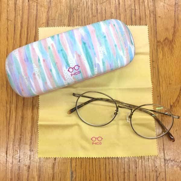 《散步生活雜貨-文具散步》日本進口 PACO 粉彩 眼鏡盒 (附擦拭布) -粉彩條紋A291OV