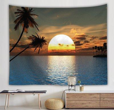 北歐IN S椰樹夕 陽墻壁裝 飾掛毯客 廳宿舍直 播背景布 隔斷簾墻 布掛畫
