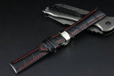 艾曼達精品~20mm高質感可替代TAG,BREITLING豪雅 百年靈 原廠錶帶之真牛皮錶帶,雙按式超方便