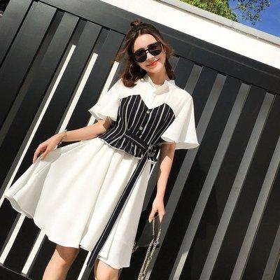 GOGO SHOP☆╭學院風襯衫洋裝連身裙L-4XL中大尺碼【Y1965】秋裝新款韓版條紋兩件套打底短裙 顯瘦洋裝