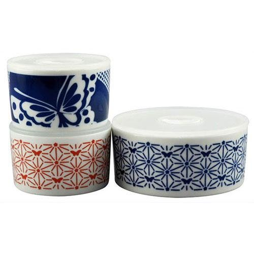 ◎Life Sense◎ 【HANAE MORI】日本製 KOMON 手工有蓋點心碗 小菜碗 收納小皿 1 組 3 個