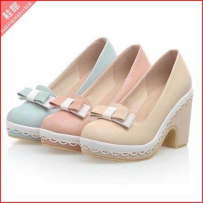 跟鞋*鞋館Shoes hall*【A11036】柔嫩顯白~素面蝴蝶結花邊粗跟包鞋~3色~