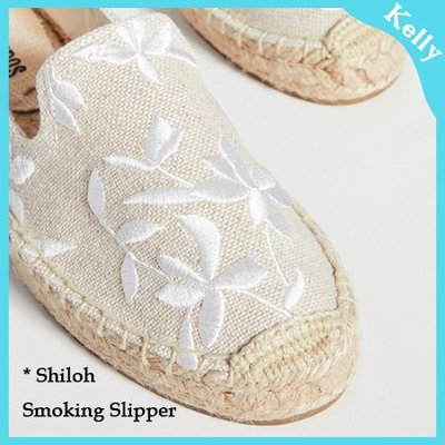 Kelly代購* Soludos 20年新款【厚底款。Shiloh 花葉剪影_沙色】夏季草編麻編帆布鞋