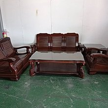 二手家具全省估價(大台北冠均 新五店)二手貨中心--通風耐用實木椅1+2+3+大小茶几 木製沙發組 SO-0021901