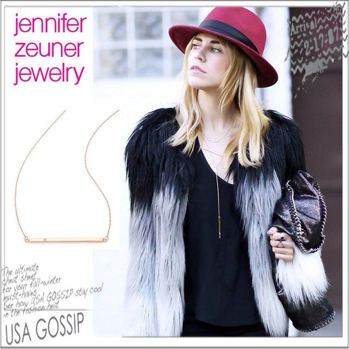 ㊣ 美國八卦小報 ㊣ Jennifer Zeuner 好萊塢女星最愛飾品牌 金銀色 長方鑲鑽項鍊 現貨特價