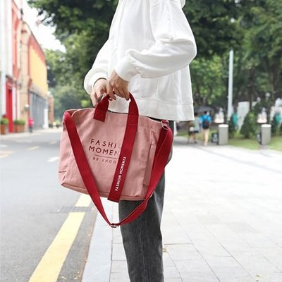 手提包 帆布側背包-字母印花拼色織帶女包包6色73xb24[獨家進口][米蘭精品]
