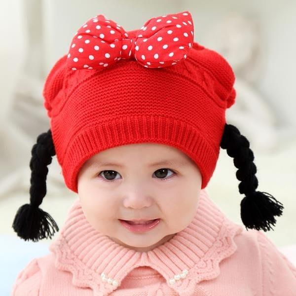 女寶寶假發帽子秋冬季1歲毛線帽帶小辮子公主韓版女童蝴蝶結針織 --奇異空間