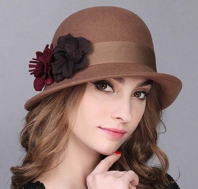 新款帽子女 秋冬新款全羊毛保暖定型氊帽 優雅卷邊圓頂小禮帽