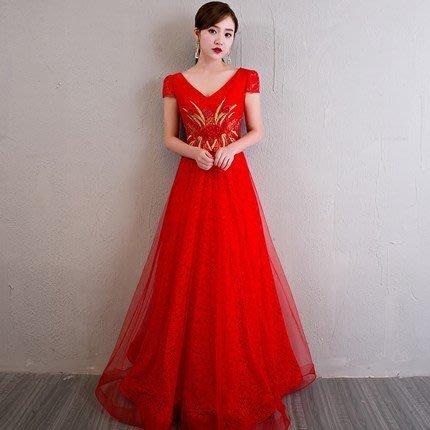 大小姐時尚精品屋~~紅色结婚敬酒服時尚宴會修身優雅主持長禮服~3件免郵