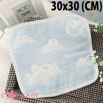 STAR BABY-日本訂單款 柔軟六層紗布 小方巾 兒童手帕 口水巾 嬰兒餵奶巾
